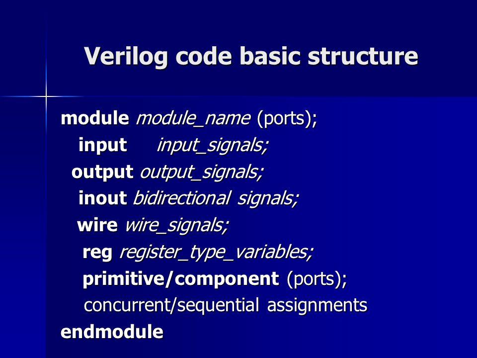 Verilog code basic structure module module_name (ports); inputinput_signals; output output_signals; output output_signals; inout bidirectional signals