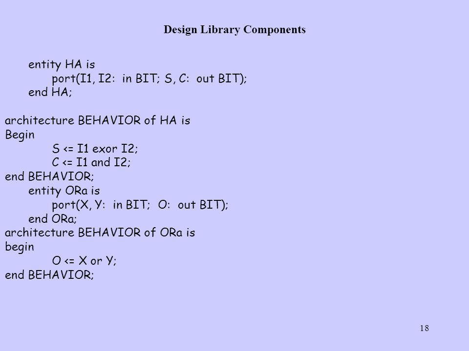 18 Design Library Components entity HA is port(I1, I2: in BIT; S, C: out BIT); end HA; architecture BEHAVIOR of HA is Begin S <= I1 exor I2; C <= I1 and I2; end BEHAVIOR; entity ORa is port(X, Y: in BIT; O: out BIT); end ORa; architecture BEHAVIOR of ORa is begin O <= X or Y; end BEHAVIOR;
