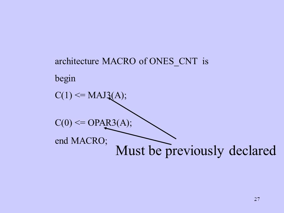27 architecture MACRO of ONES_CNT is begin C(1) <= MAJ3(A); C(0) <= OPAR3(A); end MACRO; Must be previously declared