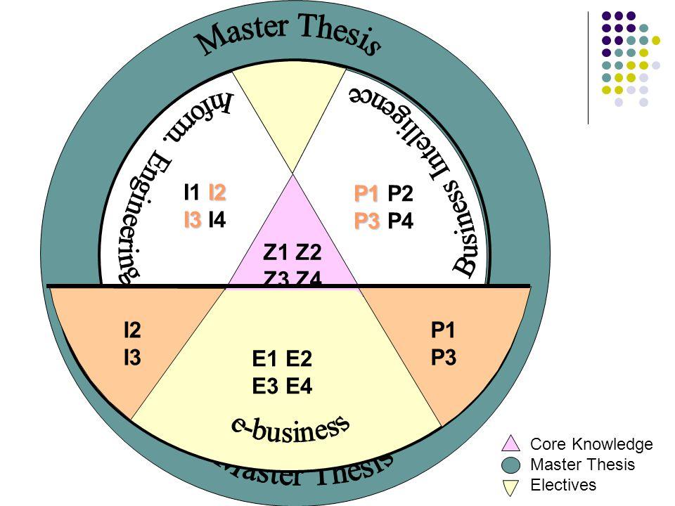 Z1 Z2 Z3 Z4 Core Knowledge Master Thesis Electives I2 I1 I2 I3 I3 I4 P1 P1 P2 P3 P3 P4 E1 E2 E3 E4 P1 P3 I2 I3