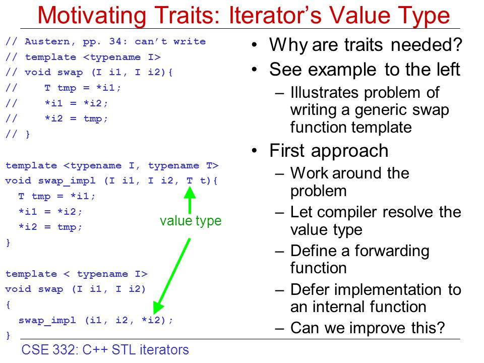 CSE 332: C++ STL iterators Motivating Traits: Iterator's Value Type Why are traits needed? See example to the left –Illustrates problem of writing a g