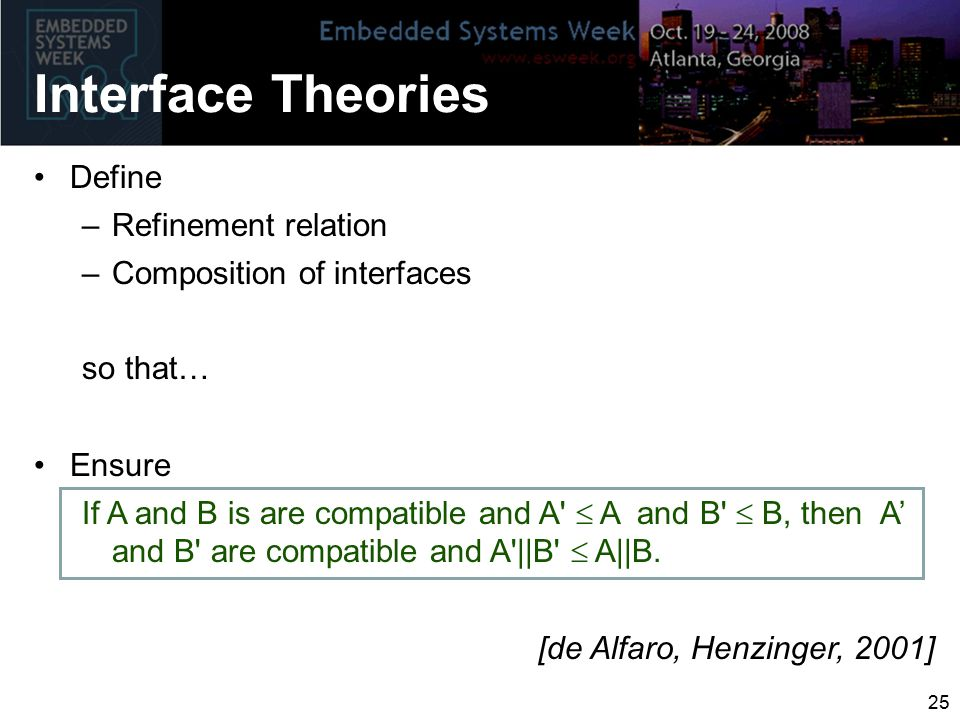 Interface Theories Define –Refinement relation –Composition of interfaces so that… Ensure If A and B is are compatible and A  A and B  B, then A' and B are compatible and A ||B  A||B.