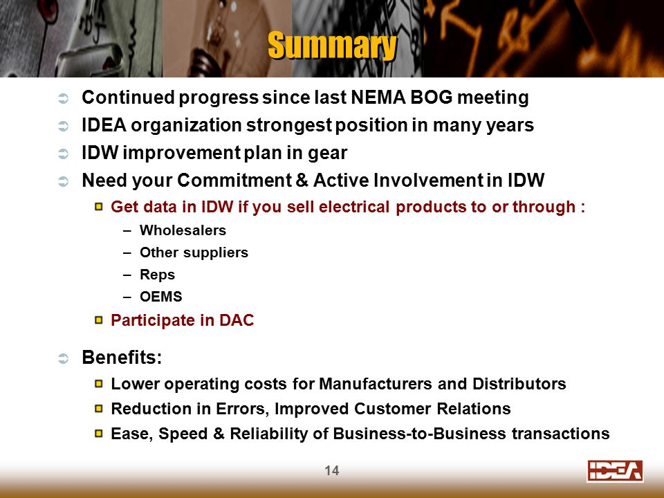 14 Summary  Continued progress since last NEMA BOG meeting  IDEA organization strongest position in many years  IDW improvement plan in gear  Need your Commitment & Active Involvement in IDW Get data in IDW if you sell electrical products to or through : –Wholesalers –Other suppliers –Reps –OEMS Participate in DAC  Benefits: Lower operating costs for Manufacturers and Distributors Reduction in Errors, Improved Customer Relations Ease, Speed & Reliability of Business-to-Business transactions