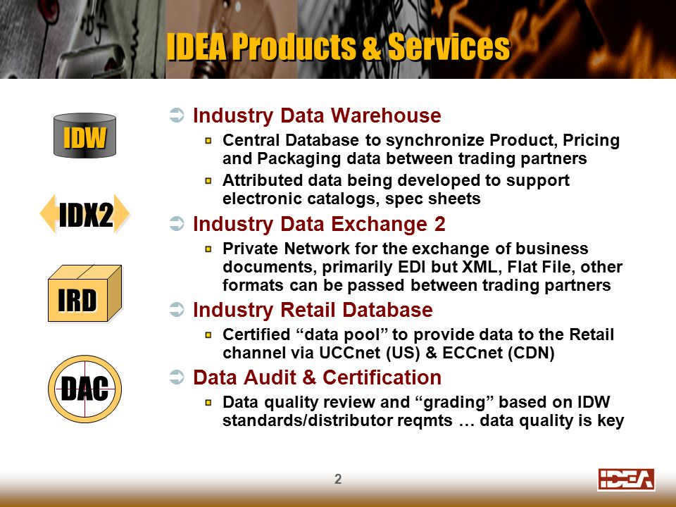 2  Industry Data Warehouse Central Database to synchronize Product, Pricing and Packaging data between trading partners Attributed data being developed to support electronic catalogs, spec sheets  Industry Data Exchange 2 Private Network for the exchange of business documents, primarily EDI but XML, Flat File, other formats can be passed between trading partners  Industry Retail Database Certified data pool to provide data to the Retail channel via UCCnet (US) & ECCnet (CDN)  Data Audit & Certification Data quality review and grading based on IDW standards/distributor reqmts … data quality is key IDEA Products & Services IDW IDX2 IRDIRD DAC