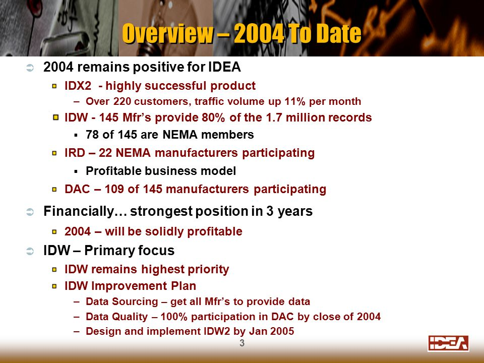 3  2004 remains positive for IDEA IDX2 - highly successful product –Over 220 customers, traffic volume up 11% per month IDW - 145 Mfr's provide 80% of the 1.7 million records  78 of 145 are NEMA members IRD – 22 NEMA manufacturers participating  Profitable business model DAC – 109 of 145 manufacturers participating  Financially… strongest position in 3 years 2004 – will be solidly profitable  IDW – Primary focus IDW remains highest priority IDW Improvement Plan –Data Sourcing – get all Mfr's to provide data –Data Quality – 100% participation in DAC by close of 2004 –Design and implement IDW2 by Jan 2005 Overview – 2004 To Date