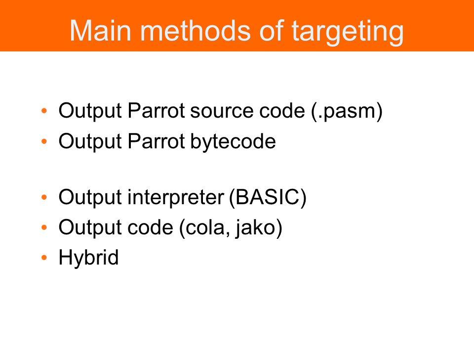 Main methods of targeting Output Parrot source code (.pasm) Output Parrot bytecode Output interpreter (BASIC) Output code (cola, jako) Hybrid