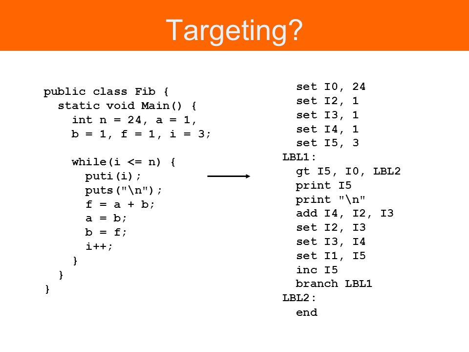 Targeting? public class Fib { static void Main() { int n = 24, a = 1, b = 1, f = 1, i = 3; while(i <= n) { puti(i); puts(