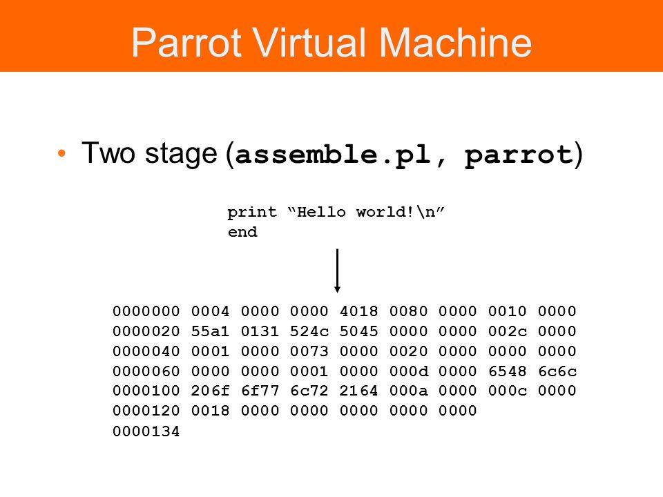 Parrot Virtual Machine Two stage ( assemble.pl, parrot ) 0000000 0004 0000 0000 4018 0080 0000 0010 0000 0000020 55a1 0131 524c 5045 0000 0000 002c 00