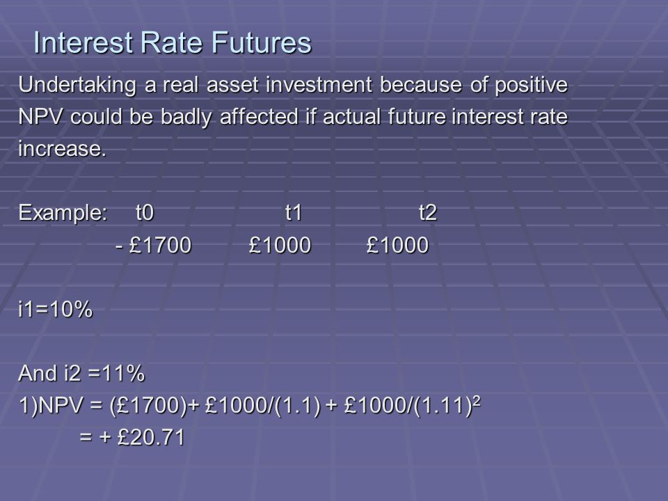 Interest Rate Futures Undertaking a real asset investment because of positive NPV could be badly affected if actual future interest rate increase.