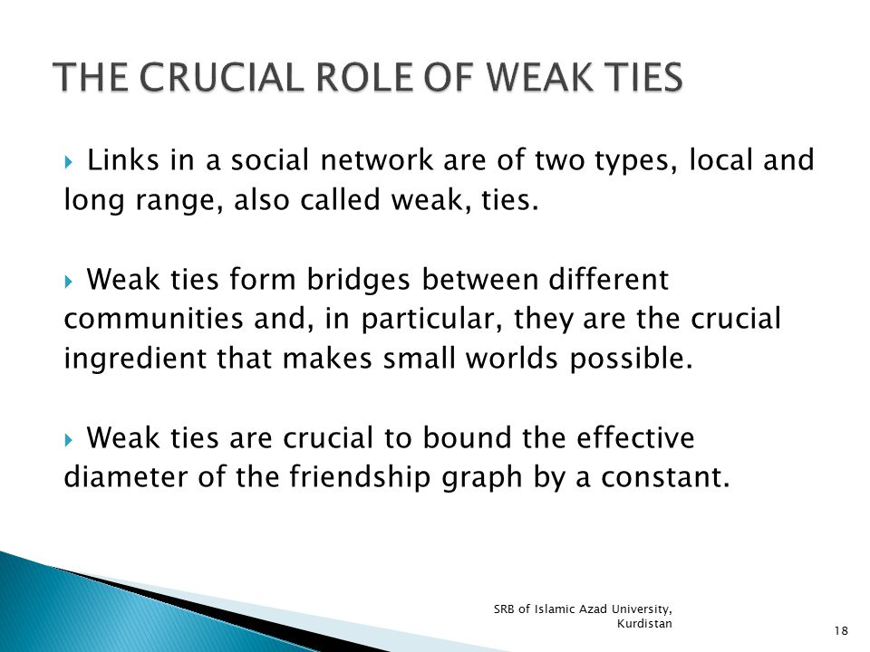  Links in a social network are of two types, local and long range, also called weak, ties.  Weak ties form bridges between different communities and