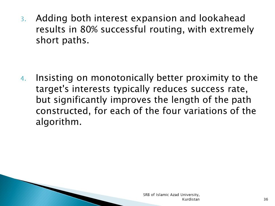 3. Adding both interest expansion and lookahead results in 80% successful routing, with extremely short paths. 4. Insisting on monotonically better pr