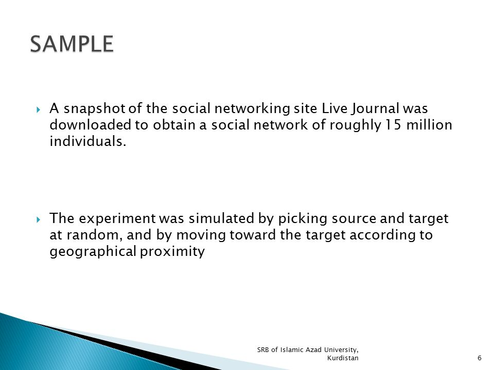  A snapshot of the social networking site Live Journal was downloaded to obtain a social network of roughly 15 million individuals.  The experiment