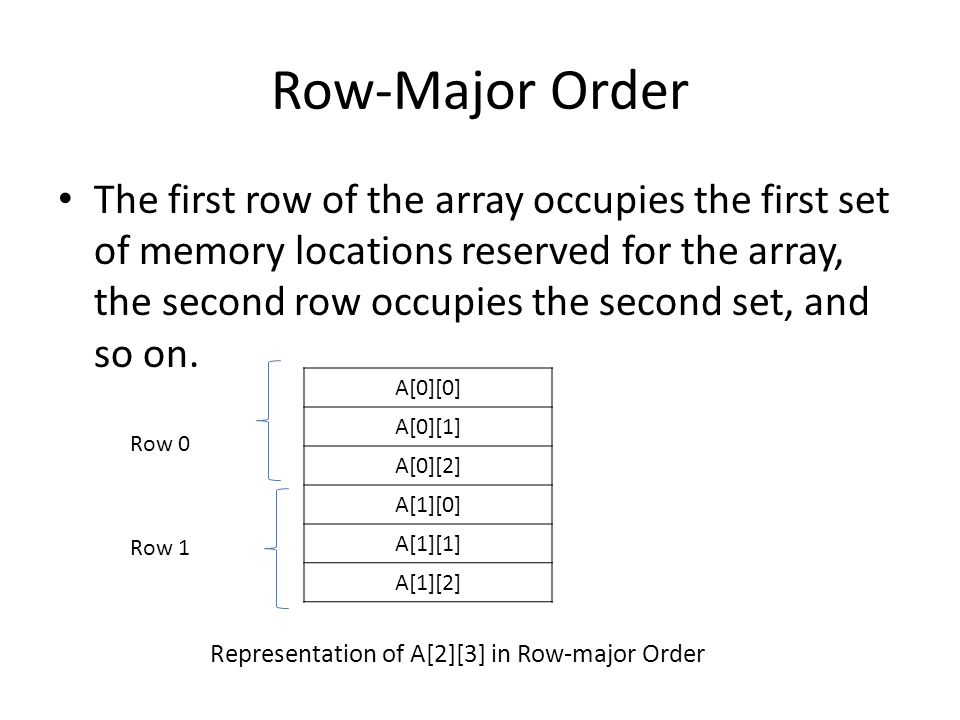Row-Major Order The first row of the array occupies the first set of memory locations reserved for the array, the second row occupies the second set, and so on.