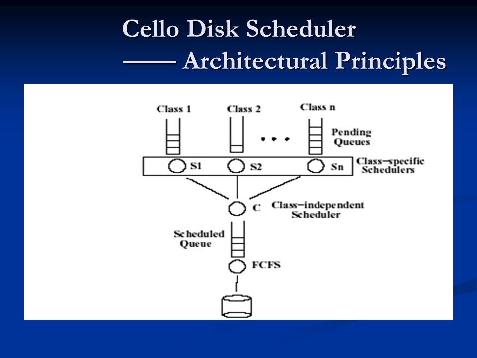 Cello Disk Scheduler —— Architectural Principles