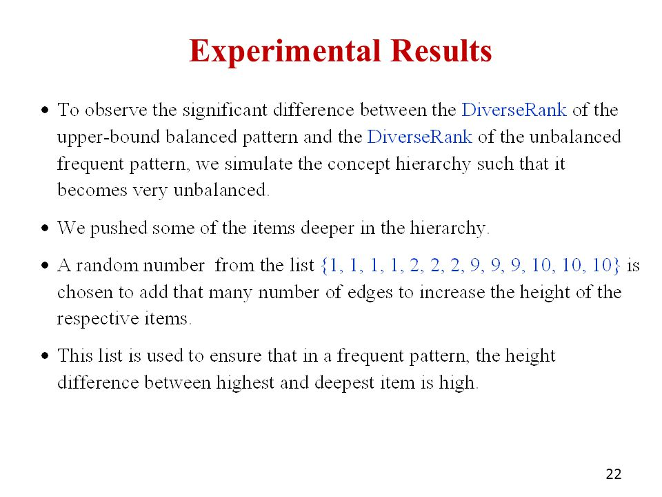 Experimental Results 22