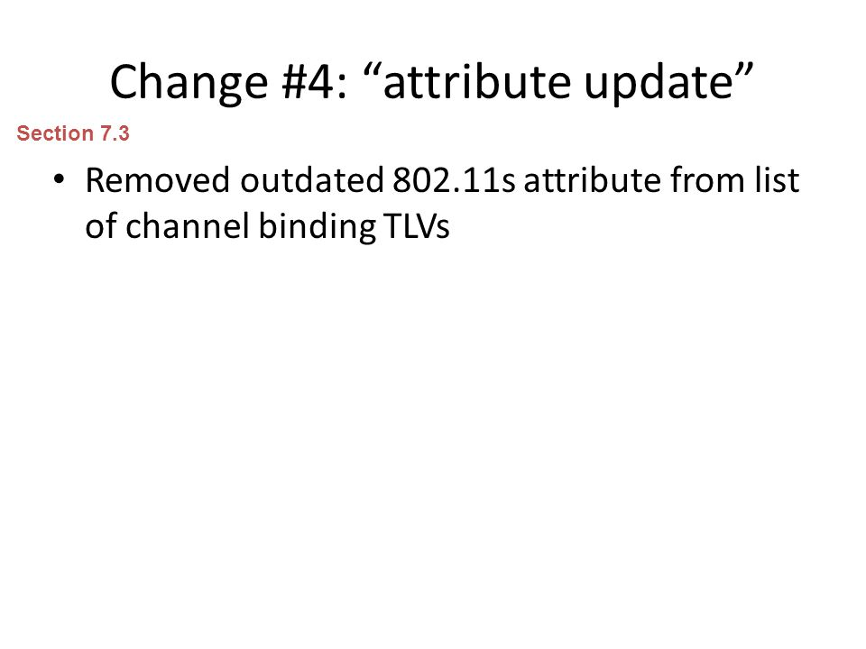 Change #4: attribute update Removed outdated 802.11s attribute from list of channel binding TLVs Section 7.3