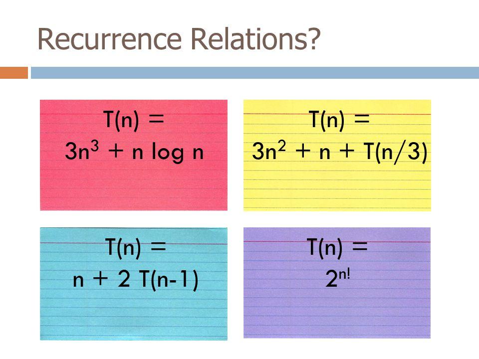 Recurrence Relations. T(n) = 3n 3 + n log n T(n) = 2 n.