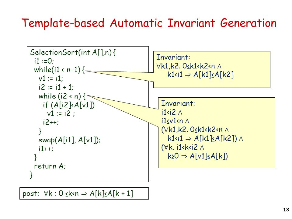 Template-based Automatic Invariant Generation SelectionSort(int A[],n) { i1 :=0; while(i1 < n−1) { v1 := i1; i2 := i1 + 1; while (i2 < n) { if (A[i2]<A[v1]) v1 := i2 ; i2++; } swap(A[i1], A[v1]); i1++; } return A; } post: ∀ k : 0 ≤k<n ⇒ A[k]≤A[k + 1] Invariant: ∀ k1,k2.