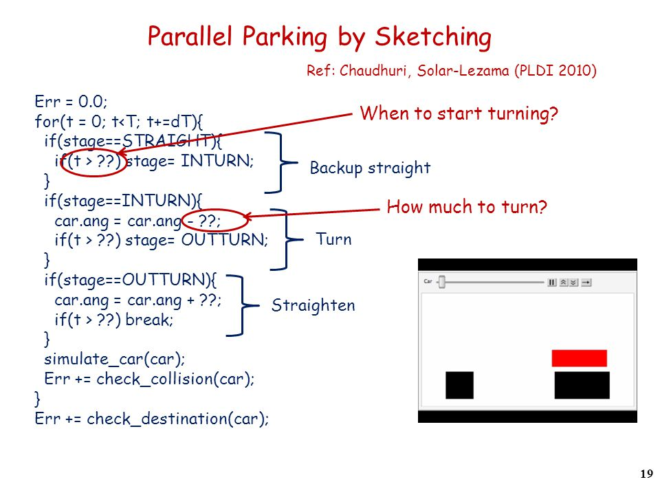 Parallel Parking by Sketching Ref: Chaudhuri, Solar-Lezama (PLDI 2010) Err = 0.0; for(t = 0; t<T; t+=dT){ if(stage==STRAIGHT){ if(t > ) stage= INTURN; } if(stage==INTURN){ car.ang = car.ang - ; if(t > ) stage= OUTTURN; } if(stage==OUTTURN){ car.ang = car.ang + ; if(t > ) break; } simulate_car(car); Err += check_collision(car); } Err += check_destination(car); Backup straight Straighten Turn When to start turning.