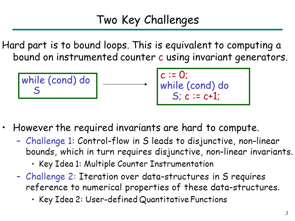 Two Key Challenges Hard part is to bound loops.