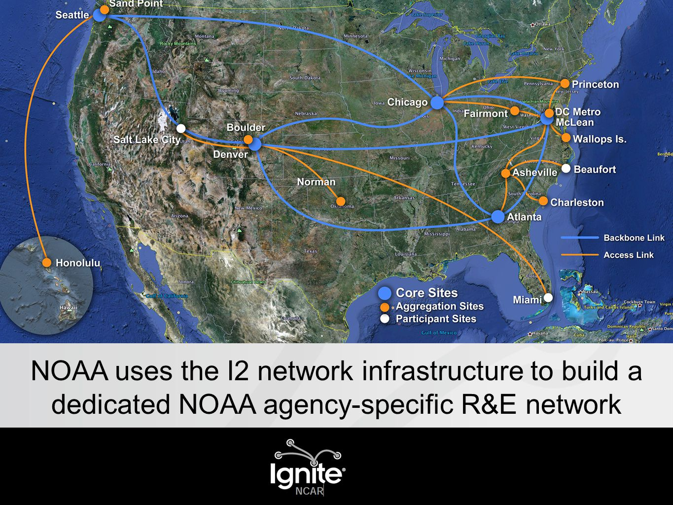 NOAA uses the I2 network infrastructure to build a dedicated NOAA agency-specific R&E network