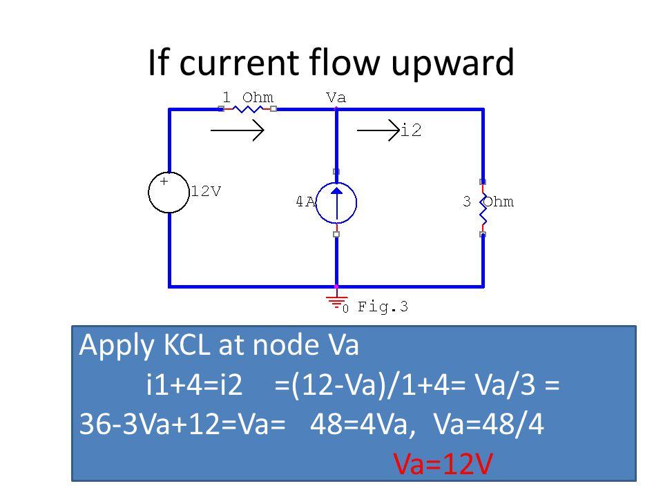 If current flow upward Apply KCL at node Va i1+4=i2 =(12-Va)/1+4= Va/3 = 36-3Va+12=Va= 48=4Va, Va=48/4 Va=12V