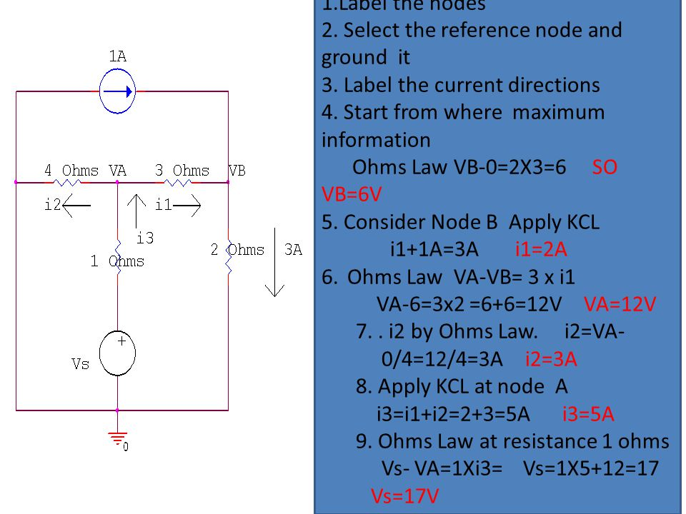 1.Label the nodes 2. Select the reference node and ground it 3. Label the current directions 4. Start from where maximum information Ohms Law VB-0=2X3