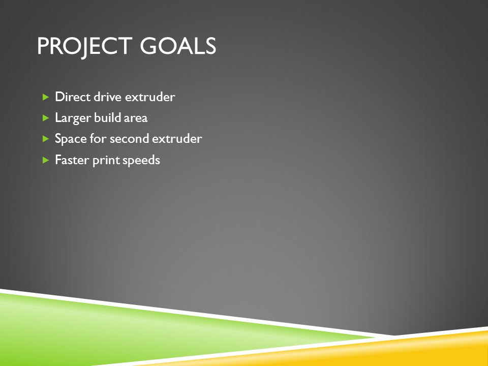 PROJECT GOALS  Direct drive extruder  Larger build area  Space for second extruder  Faster print speeds