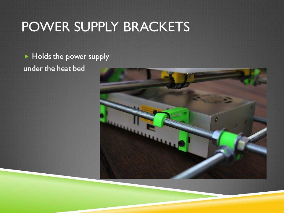 POWER SUPPLY BRACKETS  Holds the power supply under the heat bed