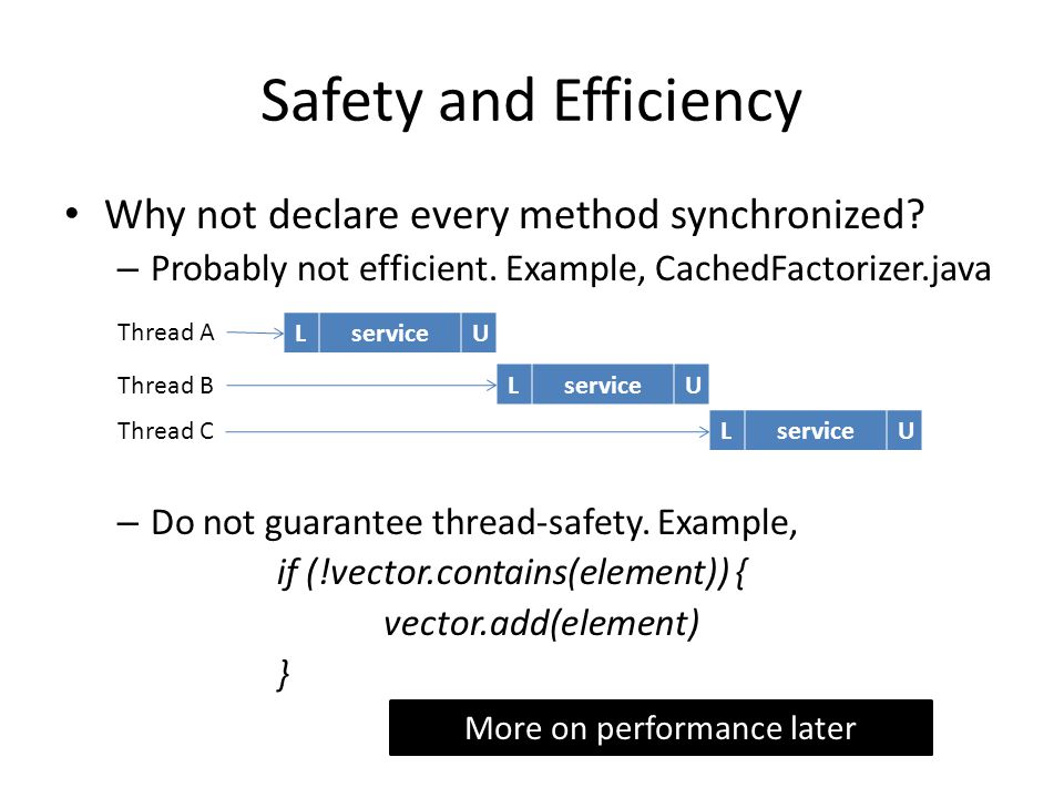 Safety and Efficiency Why not declare every method synchronized? – Probably not efficient. Example, CachedFactorizer.java – Do not guarantee thread-sa