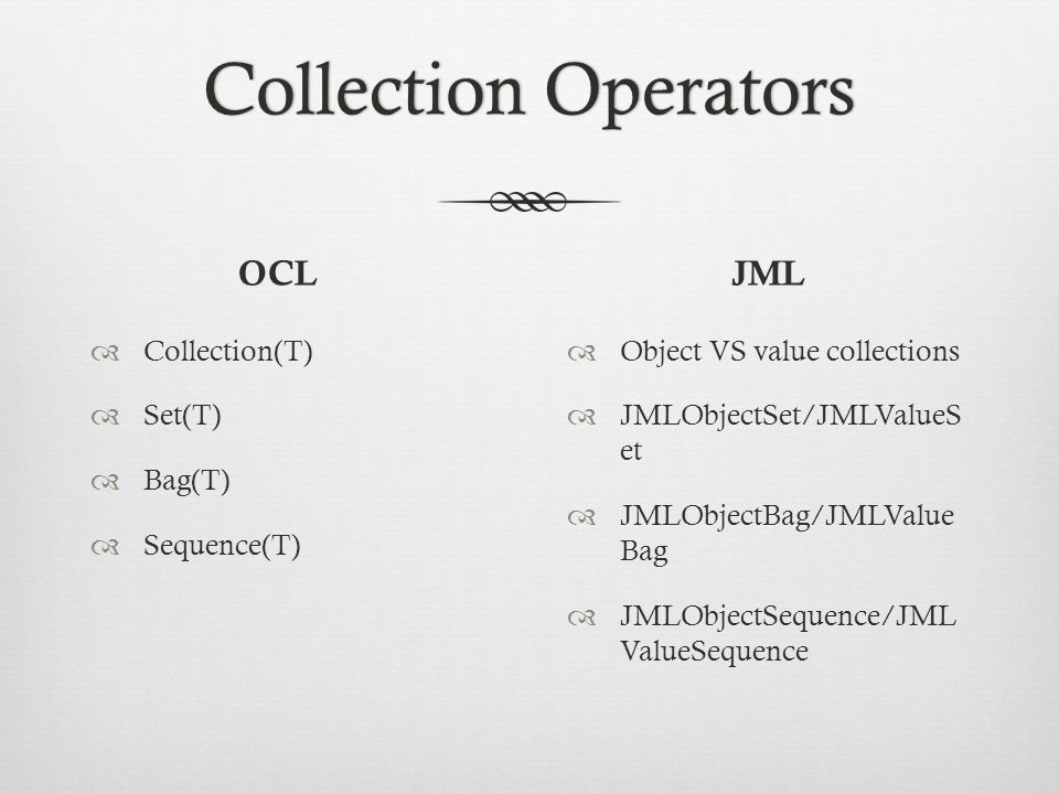Collection OperatorsCollection Operators OCL  Collection(T)  Set(T)  Bag(T)  Sequence(T) JML  Object VS value collections  JMLObjectSet/JMLValueS et  JMLObjectBag/JMLValue Bag  JMLObjectSequence/JML ValueSequence
