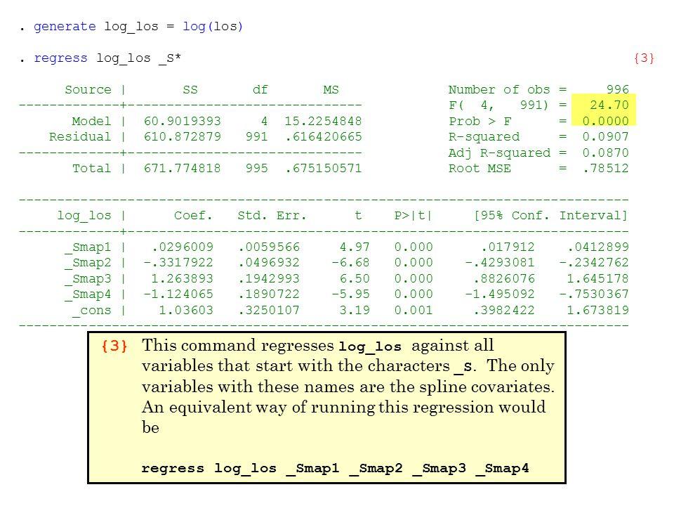 . generate log_los = log(los). regress log_los _S* {3} Source | SS df MS Number of obs = 996 -------------+------------------------------ F( 4, 991) =