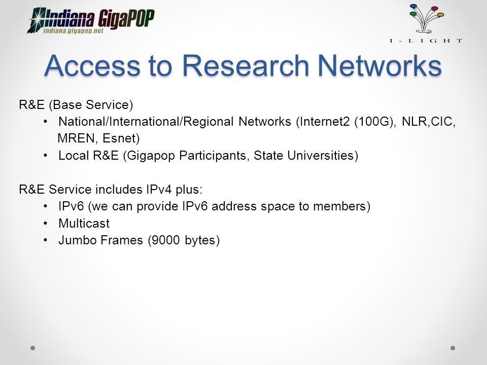 Access to Research Networks R&E (Base Service) National/International/Regional Networks (Internet2 (100G), NLR,CIC, MREN, Esnet) Local R&E (Gigapop Pa