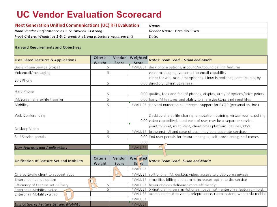 UC Vendor Evaluation Scorecard