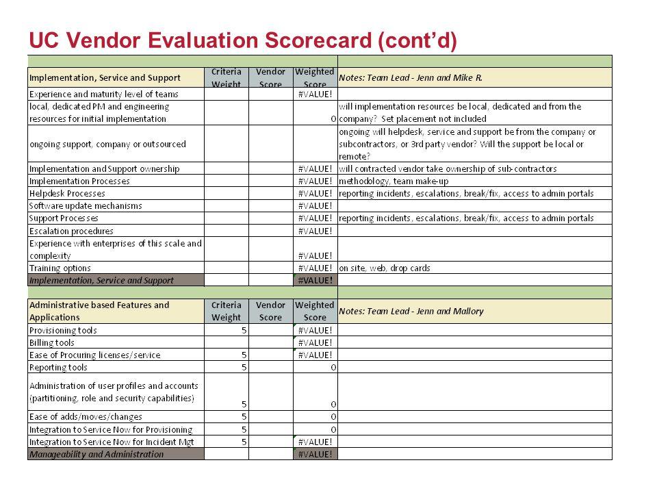 UC Vendor Evaluation Scorecard (cont'd)