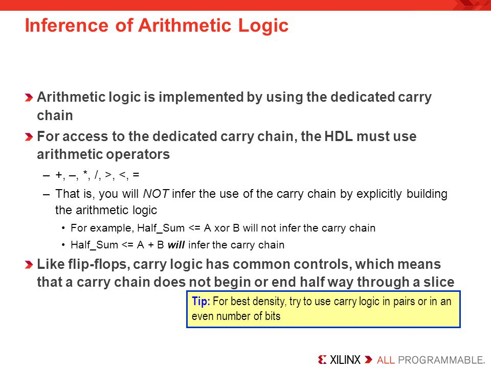 Inference of Arithmetic Logic Arithmetic logic is implemented by using the dedicated carry chain For access to the dedicated carry chain, the HDL must