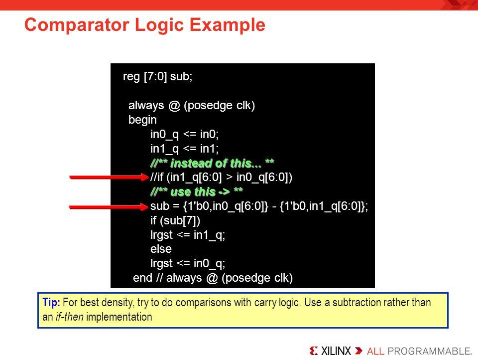 Comparator Logic Example reg [7:0] sub; always @ (posedge clk) begin in0_q <= in0; in1_q <= in1; //** instead of this... ** //if (in1_q[6:0] > in0_q[6