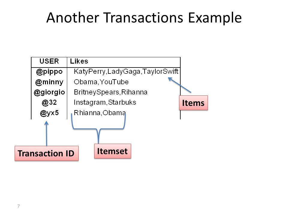 8 Transaction database: Example (neutral)