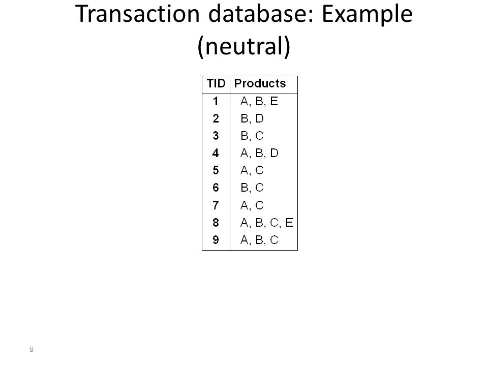 9 Transaction database: binary representation Attributes converted to binary flags