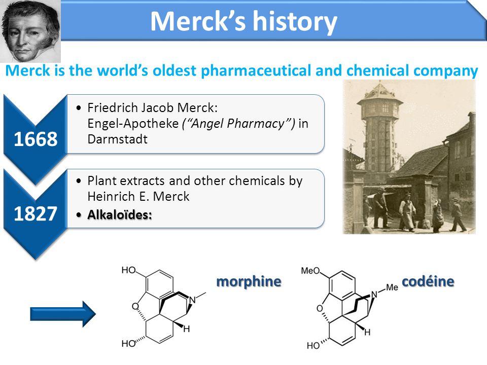 Merck is the world's oldest pharmaceutical and chemical company morphine codéine morphine codéine Merck's history 1668 Friedrich Jacob Merck: Engel-Ap