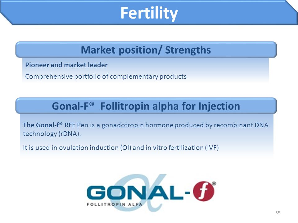 55 Gonal-F® Follitropin alpha for Injection Fertility The Gonal-f® RFF Pen is a gonadotropin hormone produced by recombinant DNA technology (rDNA). It