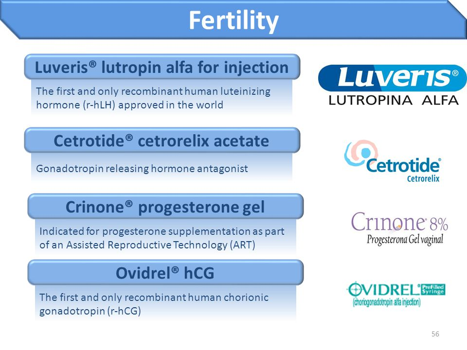 56 Luveris® lutropin alfa for injection Fertility The first and only recombinant human luteinizing hormone (r-hLH) approved in the world Cetrotide® ce