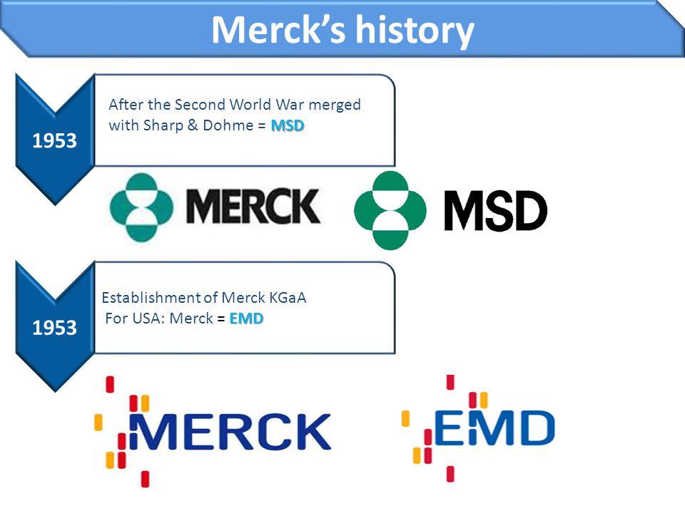 Merck's history 1953 MSD After the Second World War merged with Sharp & Dohme = MSD 1953 Establishment of Merck KGaA EMD For USA: Merck = EMD