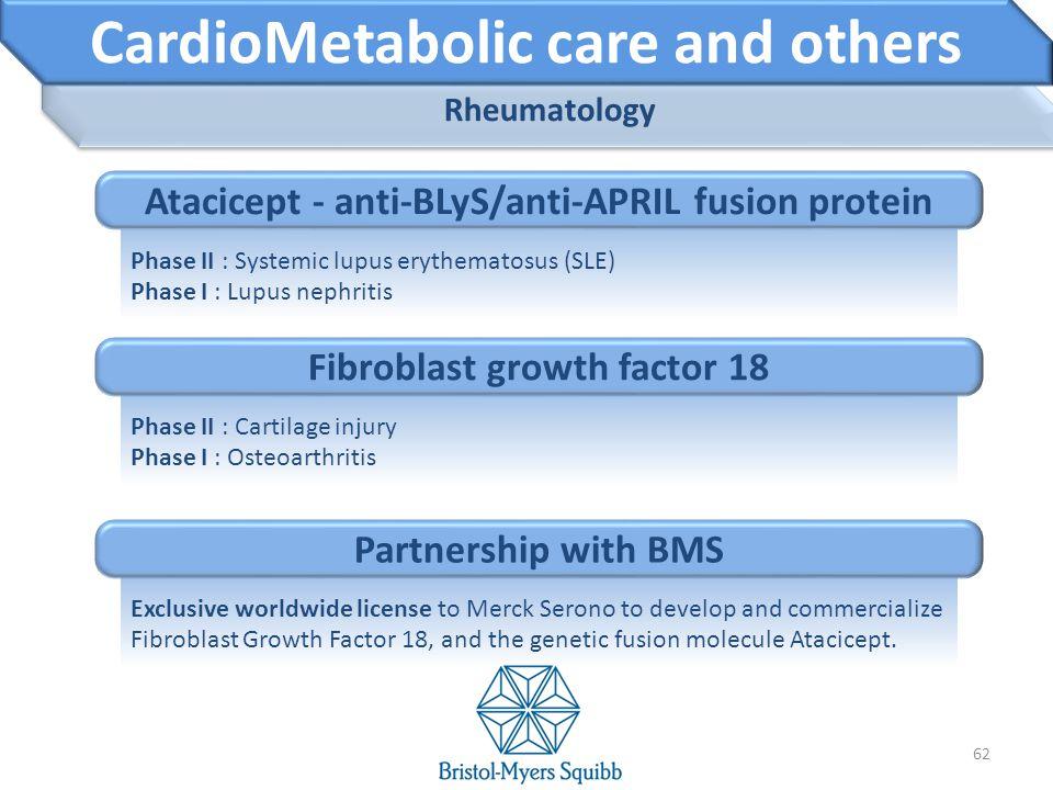 Rheumatology 62 CardioMetabolic care and others Phase II : Systemic lupus erythematosus (SLE) Phase I : Lupus nephritis Atacicept - anti-BLyS/anti-APR