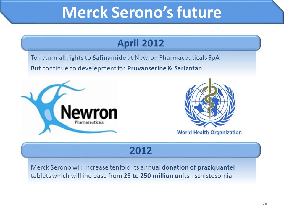 68 Merck Serono's future Merck Serono will increase tenfold its annual donation of praziquantel tablets which will increase from 25 to 250 million uni