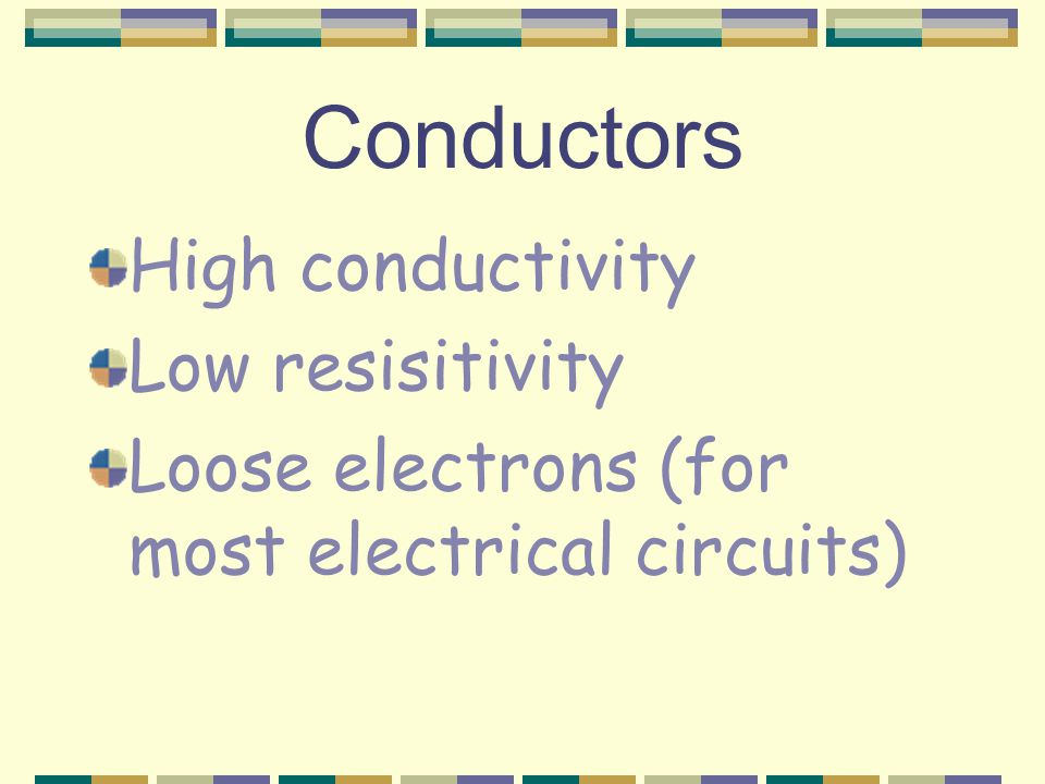 Ohm's Law V = IR V : potential drop between two points (Volts, V) I : current (Amps, A) R : resistance (Ohms,  )