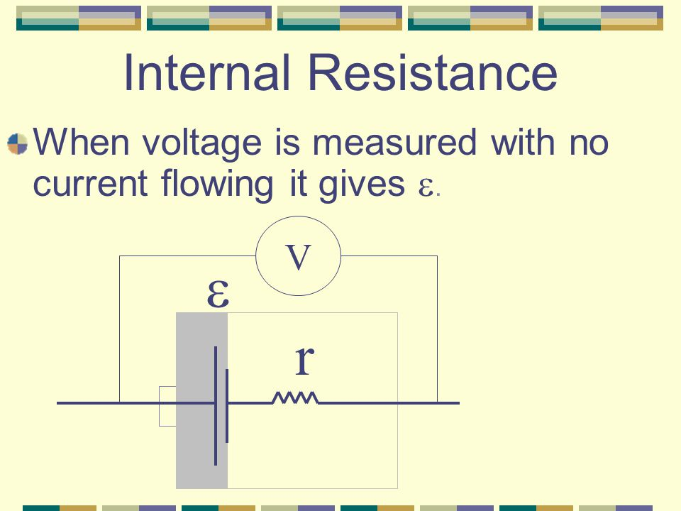 Internal Resistance The resistance that is an integral part of a cell.
