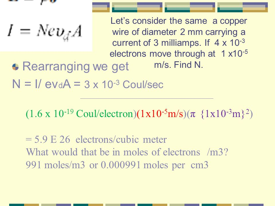 Let's consider the same a copper wire of diameter 2 mm carrying a current of 3 milliamps.