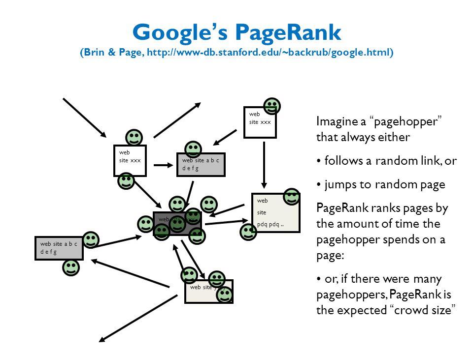 Google ' s PageRank (Brin & Page, http://www-db.stanford.edu/~backrub/google.html) web site xxx web site yyyy web site a b c d e f g web site pdq pdq..