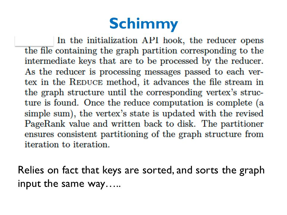 Schimmy Relies on fact that keys are sorted, and sorts the graph input the same way…..